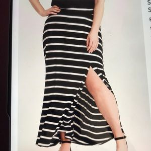 Torrid Striped Jersey Knit Side Slit Maxi Skirt